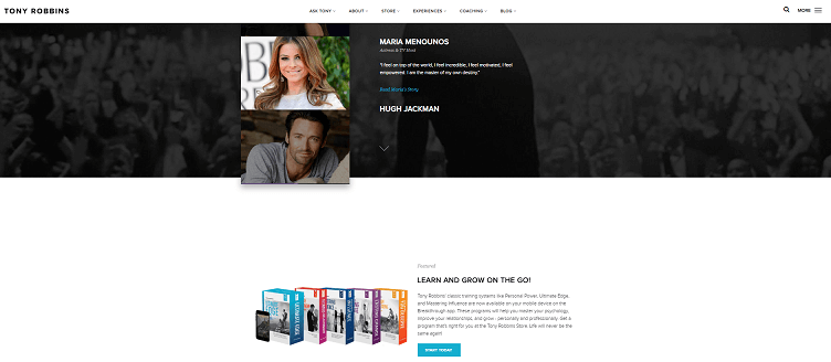 Tony Robbins website example